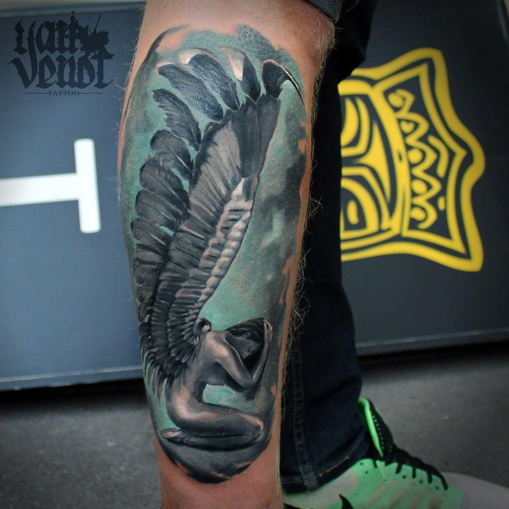 "Художественная татуировка ""Ангел"". Мастер Ян Енот."