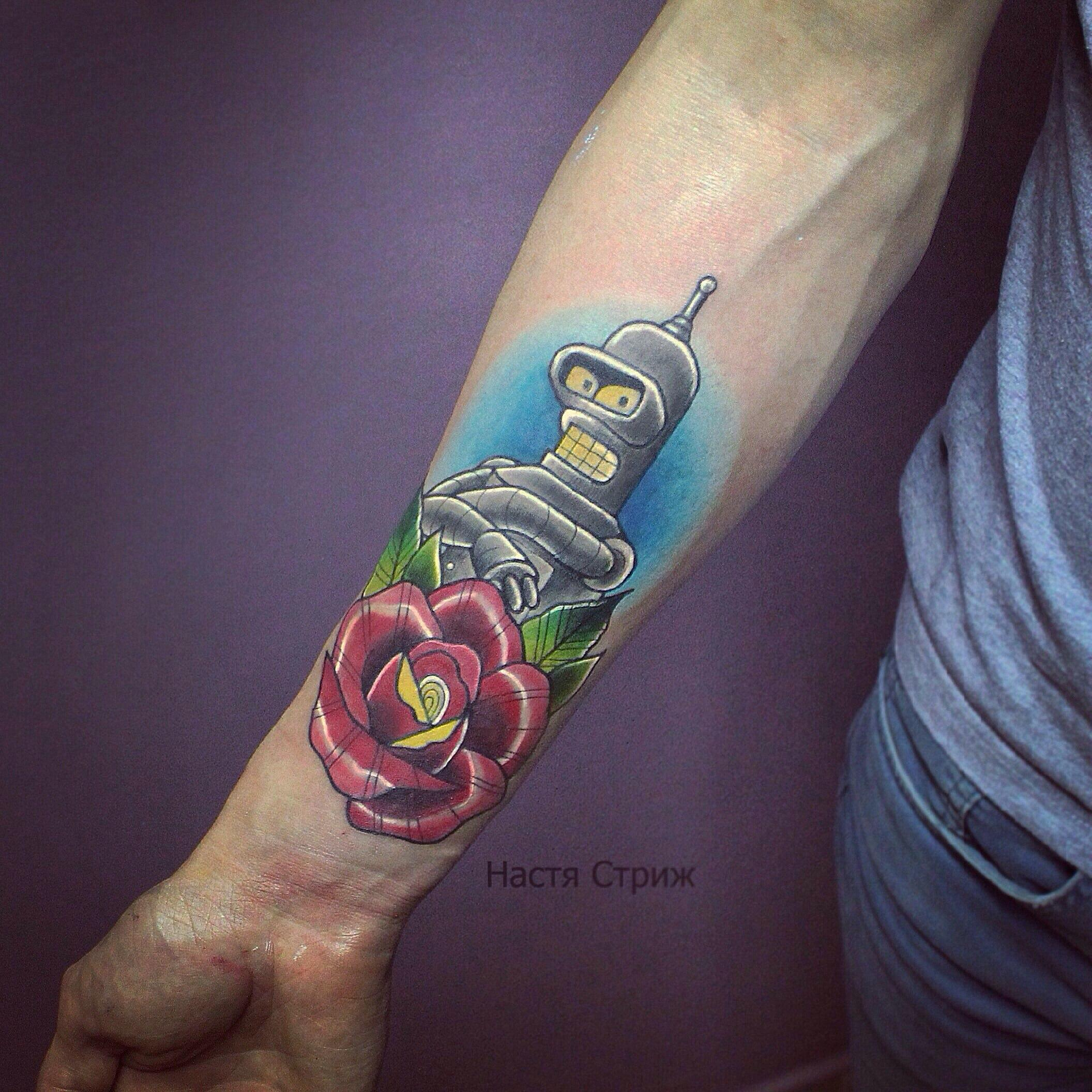 """Художественная татуировка """"Бендэр"""". Мастер Настя Стриж."""