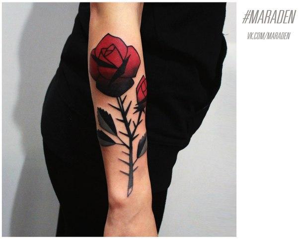 Художественная татуировка «Роза». Мастер — Денис Марахин. Расположение — предплечье. Время работы — 2 часа. По своему эскизу