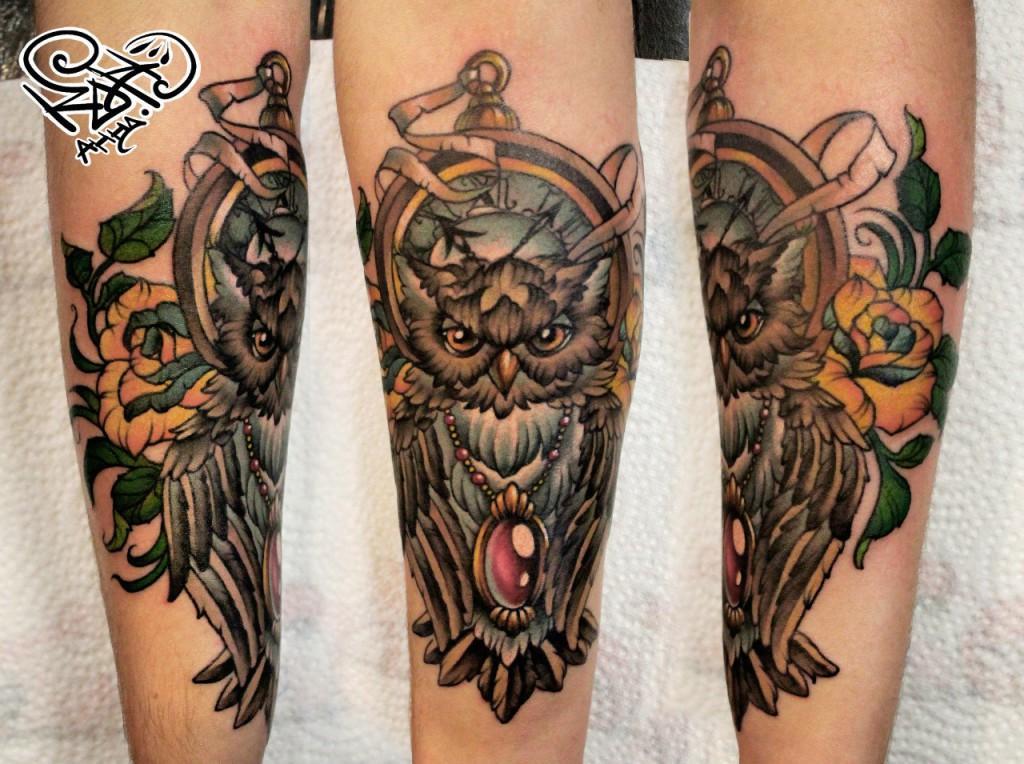 Художественная татуировка «Сова». Мастер — Анна Корь. Расположение — предплечье. Время работы — 2 сеанса по 2 часа. По идее клиента