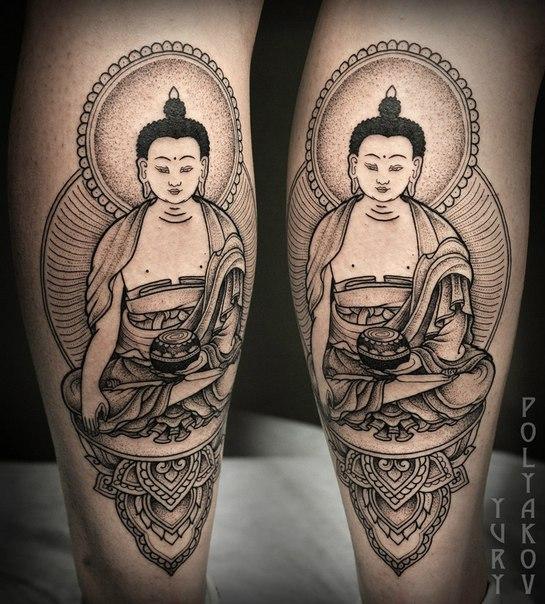 """Художественная татуировка """"Будда"""" от Юрия Полякова."""
