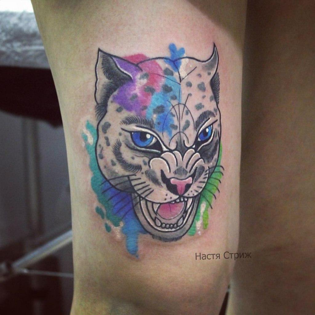 """Художественная татуировка """"Гепард"""". Мастер Настя Стриж."""