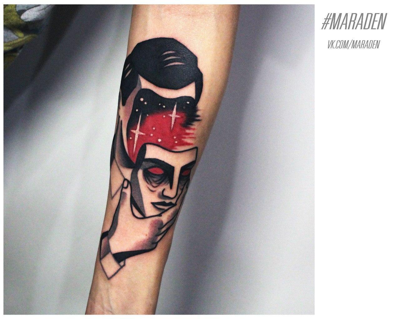 Художественная татуировка «Маска». Мастер — Денис Марахин