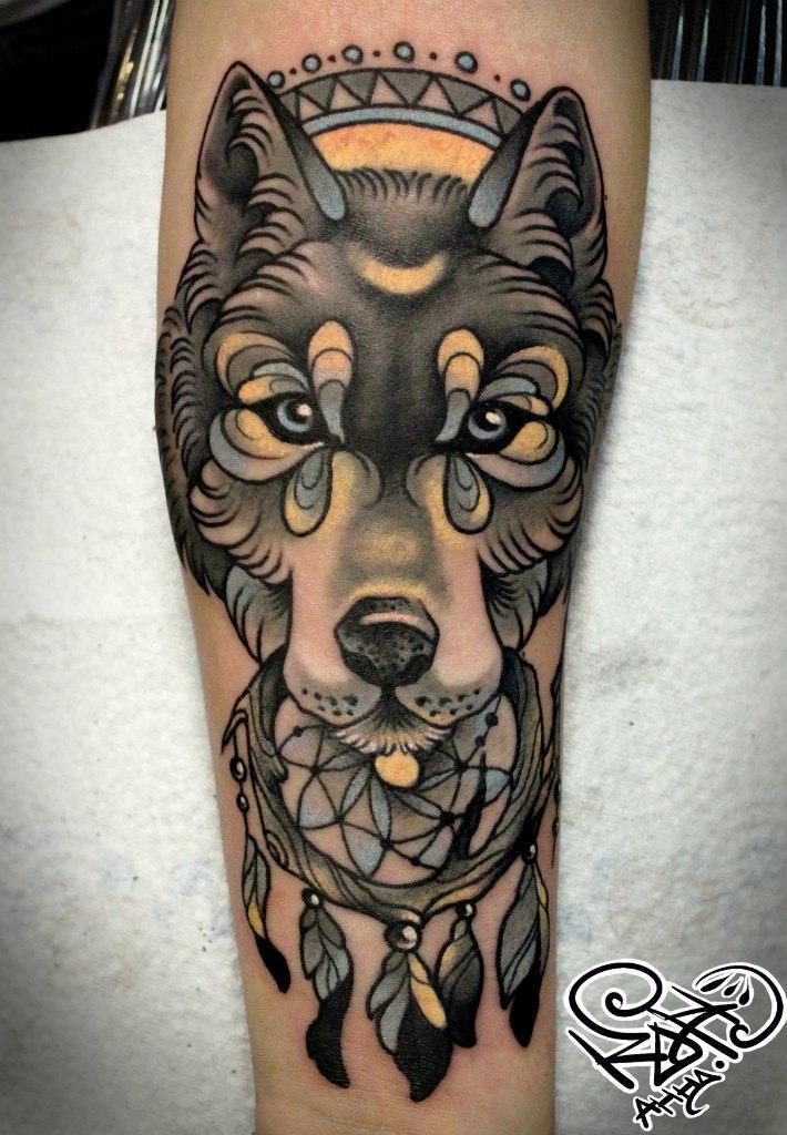 Художественная татуировка «Волк». Мастер — Анна Корь