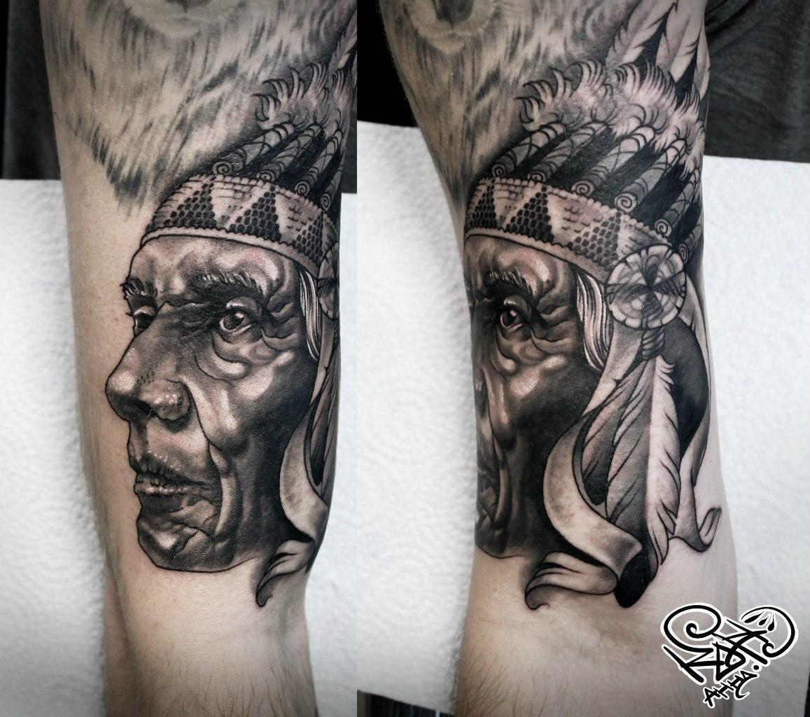 Художественная татуировка «Индеец». Мастер — Анна Корь