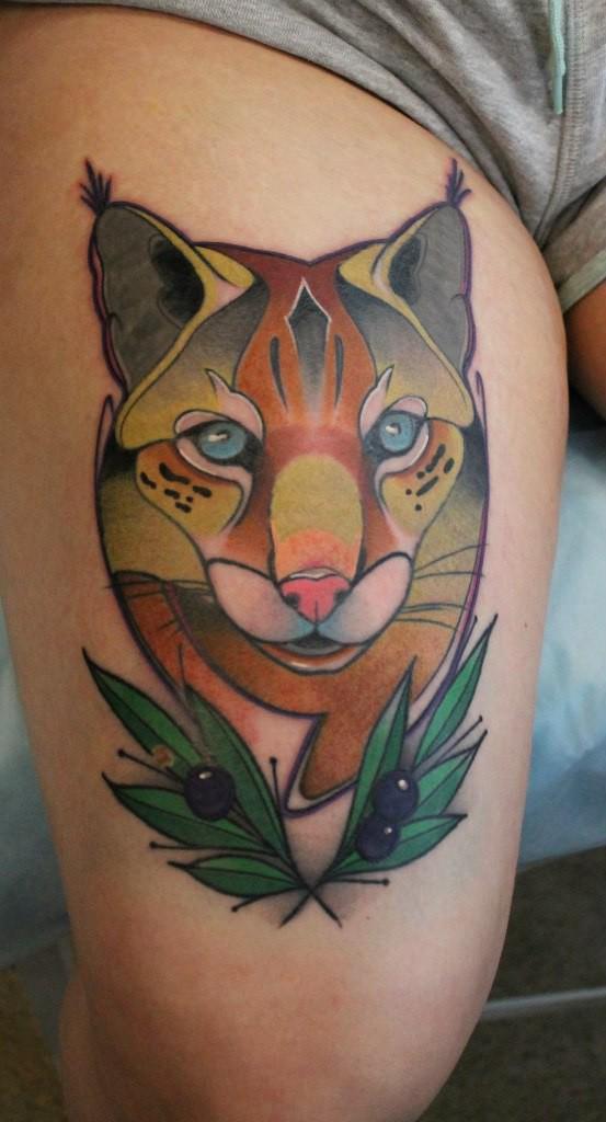 Художественная татуировка «Рысь» Мастер — Саша Новик. Расположение — бедро. Время работы — 4 часа. По своему эскизу