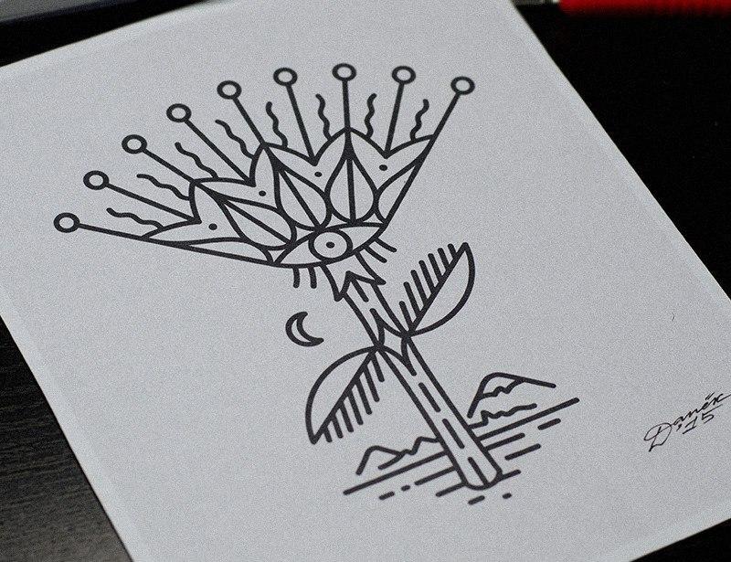 """Свободный эскиз """"Цветок"""". Мастер Даниил Костарев."""