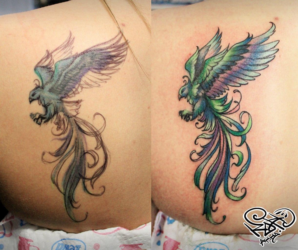 Художественная татуировка «Феникс». Мастер — Анна Корь