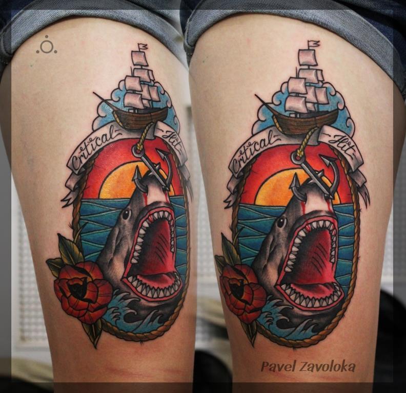 Художественная татуировка «Акула». Мастер Павел Заволока