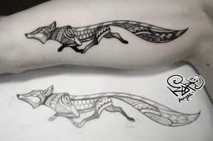 Художественная татуировка «Лиса». Мастер — Анна Корь. Расположение — внутренняя сторона плеча. Время работы —1 час. По своему эскизу