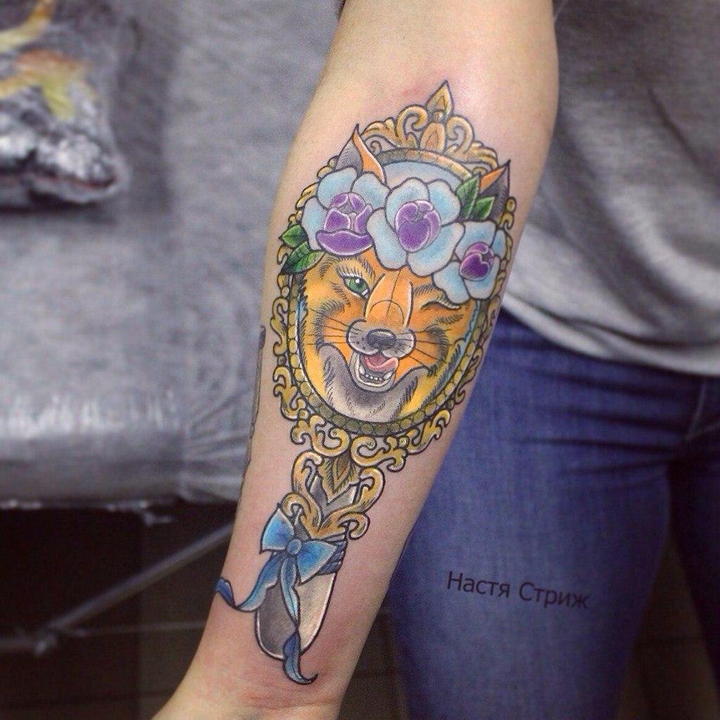 Художественная татуировка «Лиса». Мастер Настя Стриж. Расположение рука