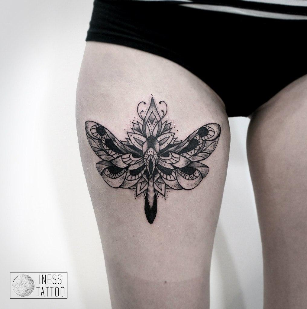 Художественная татуировка «Стрекоза». Мастер — Инесса Кефир