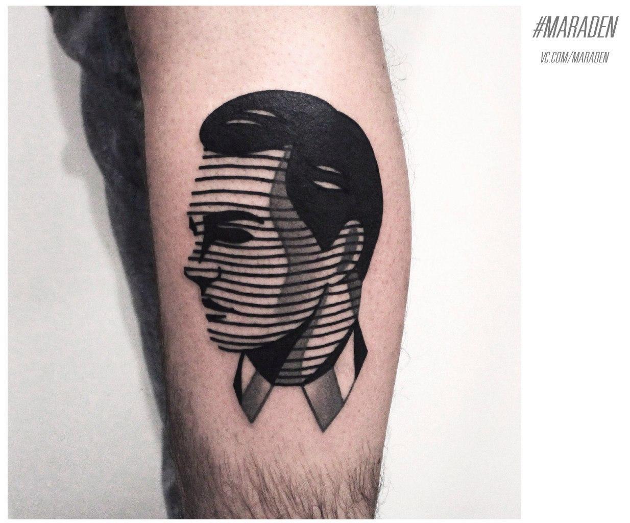 Художественная татуировка «Голова мужчины». Мастер — Денис Марахин