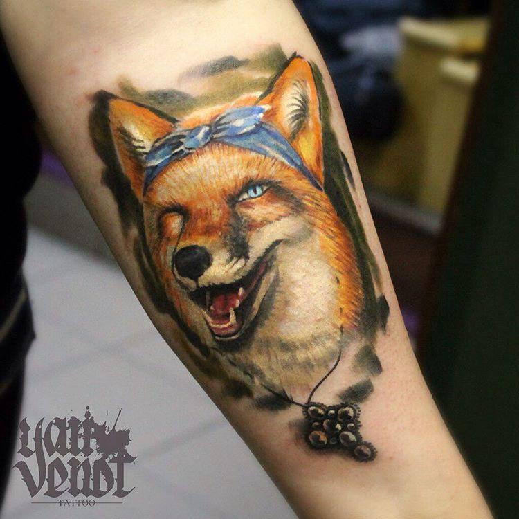 """Художественная татуировка """"Лисичка"""". Мастер Ян Енот."""