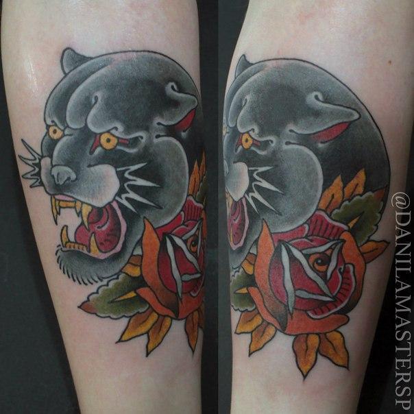 """Художественная татуировка """"Пума"""" от Данилы-Мастера."""