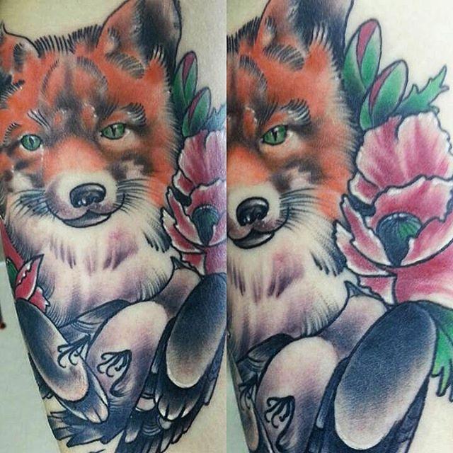 """Художественная татуировка """"Лиса"""" от Евгения Ершова."""