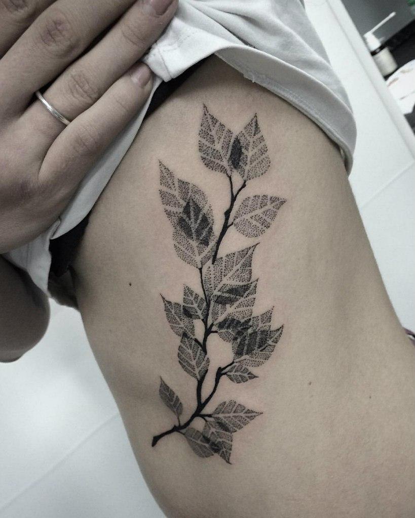 """Художественная татуировка """"Берёзовая ветвь"""" от Лилии Золотухиной"""