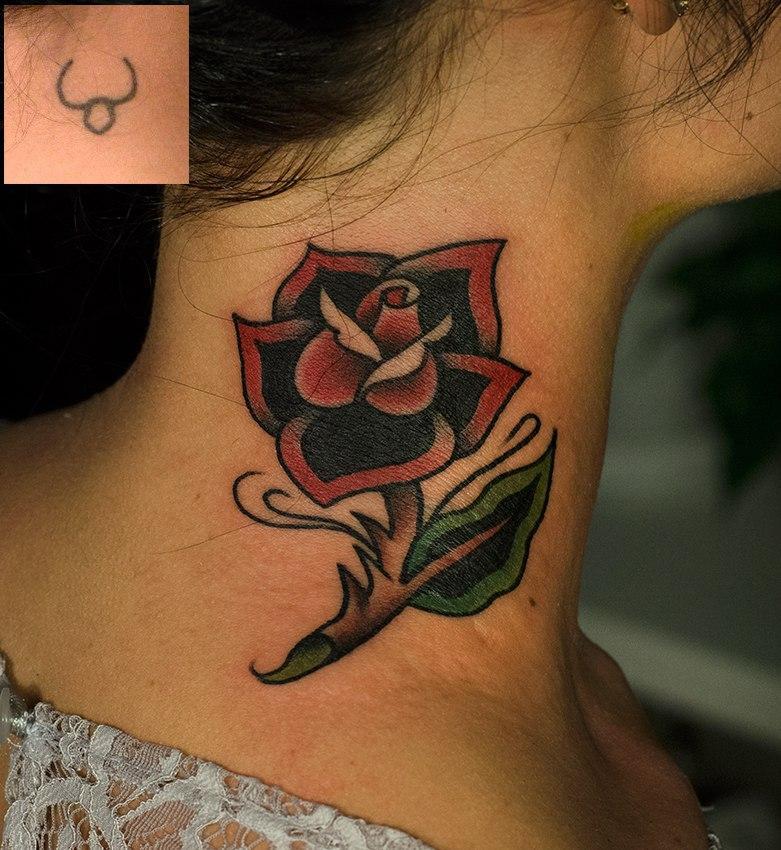 """Художественная татуировка """"Роза"""". Перекрытие. Мастер Даниил Костарев."""
