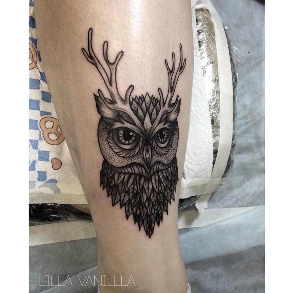"""Художественная татуировка """"Сова"""". Мастер- Лилия"""