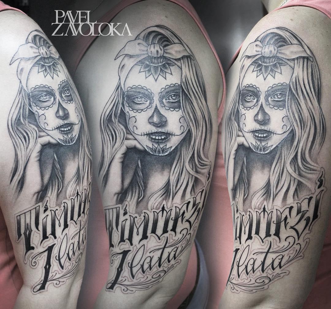 """Художественная татуировка """"Чикано"""". Процесс. Мастер Павел Заволока."""