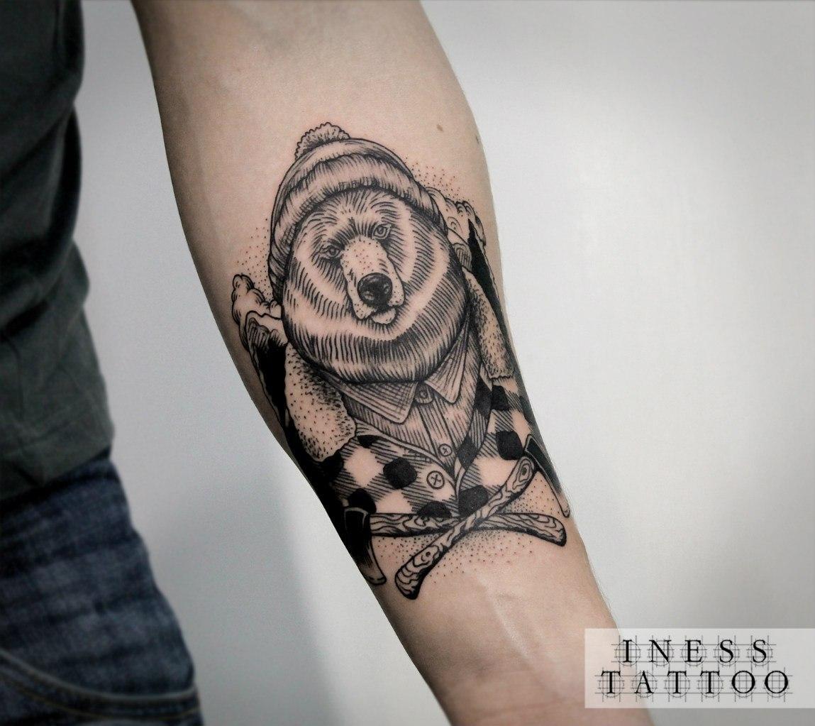 тату медведь рычит - мужская татуировка на плече - tatufoto.com | 1023x1149