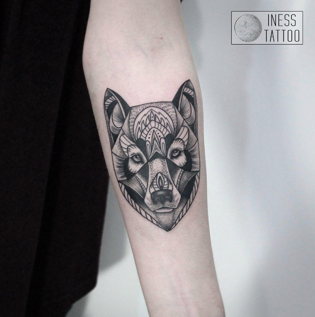 """Художественная татуировка """"Волк"""". Мастер- Инесса Кефир"""