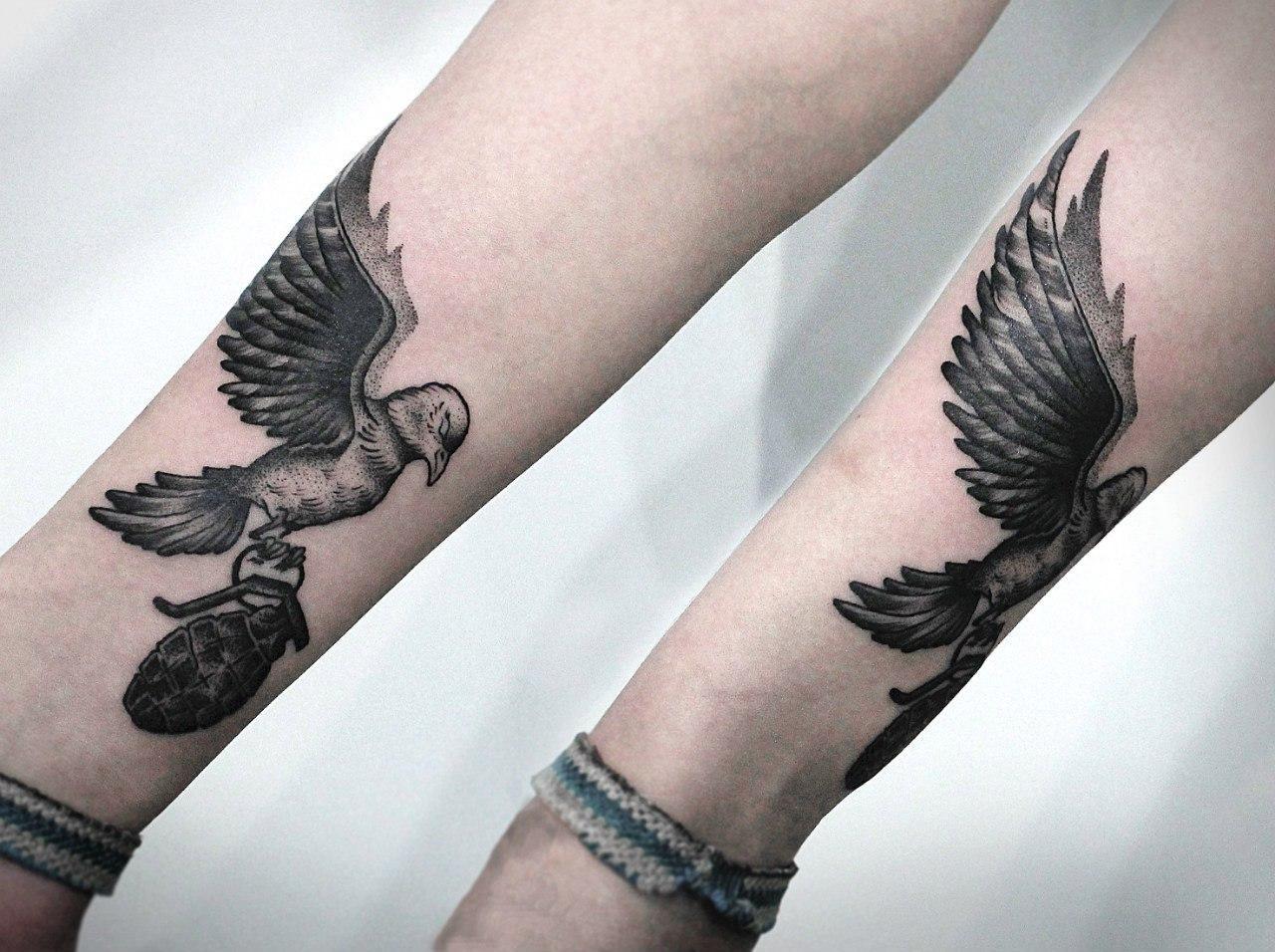 """Художественная татуировка """"Птица"""". Мастер - Ксения Смирнова"""
