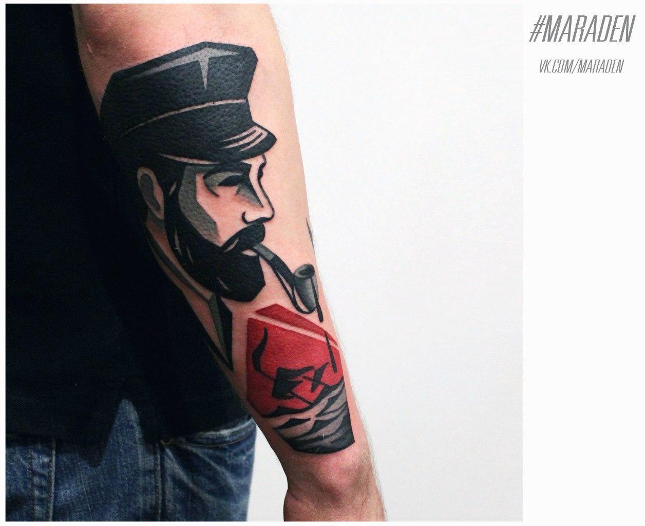 """Художественная татуировка """"Моряк"""". Мастер - Денис Марахин"""