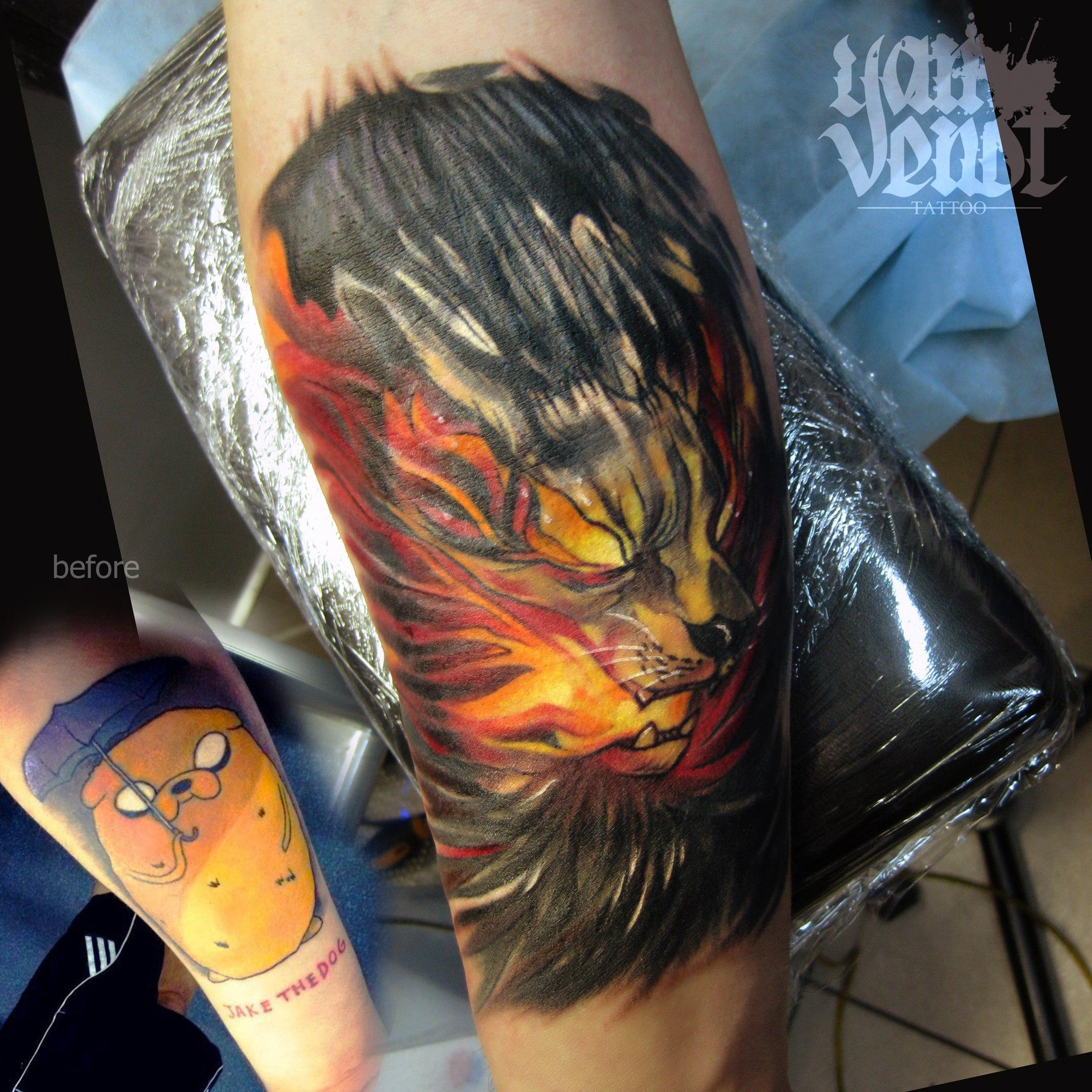 """Перекрытие старой татуировки """"Огненный пёс"""".Мастер Ян Енот."""