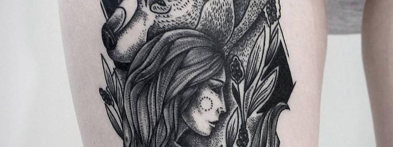 Художественная татуировка «Девушка и медведь», зажившая работа. Мастер- Инесса Кефир.