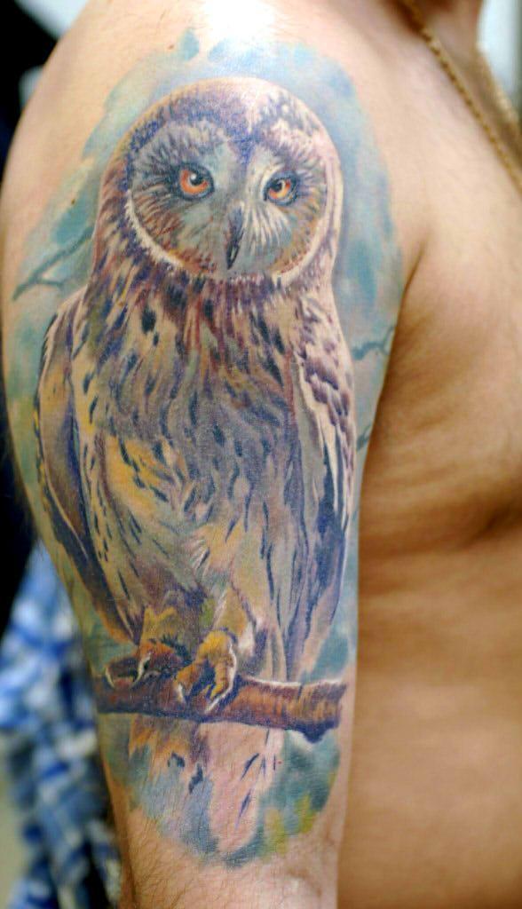 Художественная татуировка «Сова». Мастер- Дмитрий Гловкин