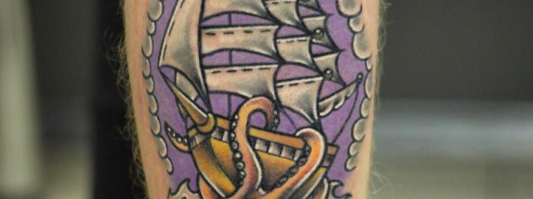 Художественная татуировка «Корабль». Мастер Ил Берёза