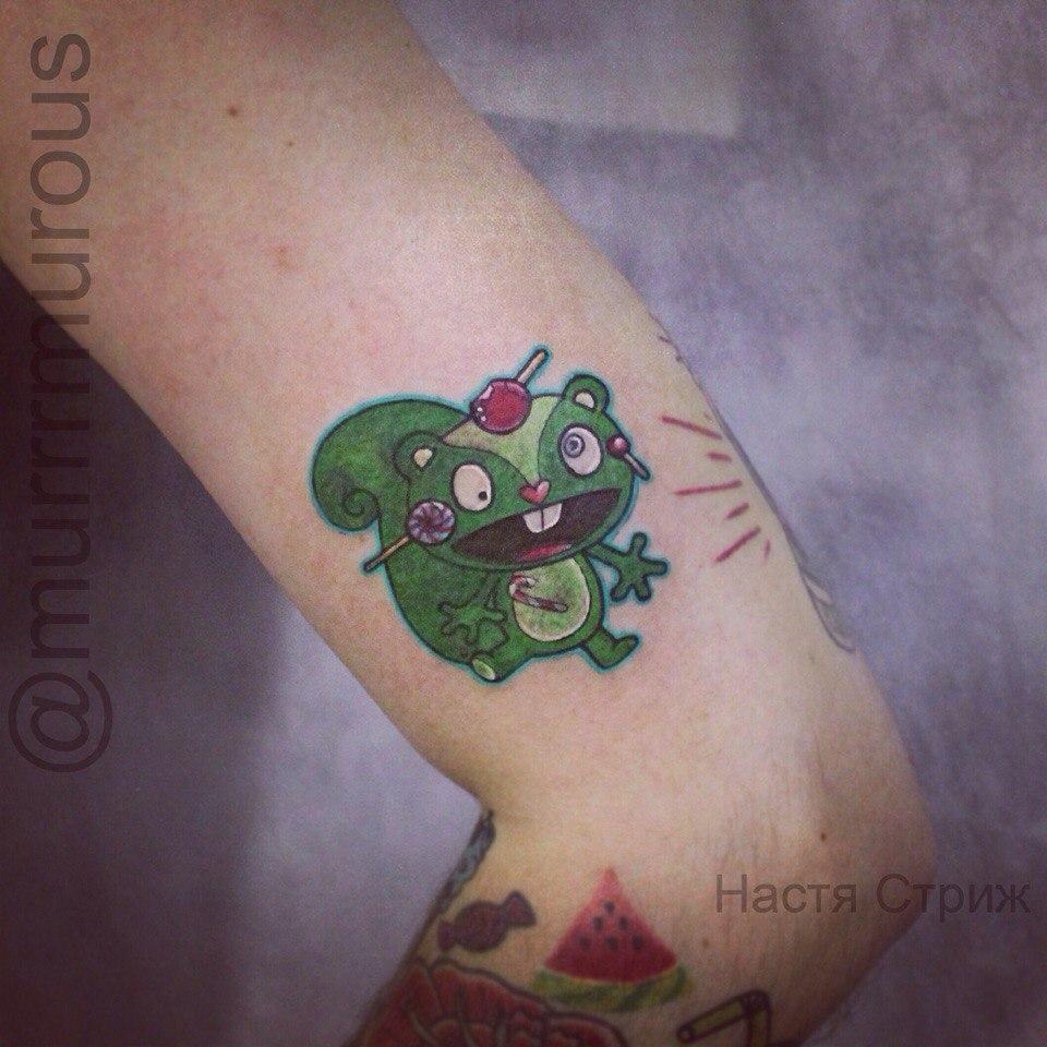 """Художественная татуировка """"Сумасшедшая белка"""".Мастер Настя Стриж"""