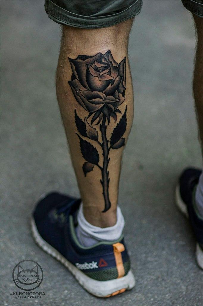 Художественная татуировка «Роза».Мастер Алексей Стафеев.