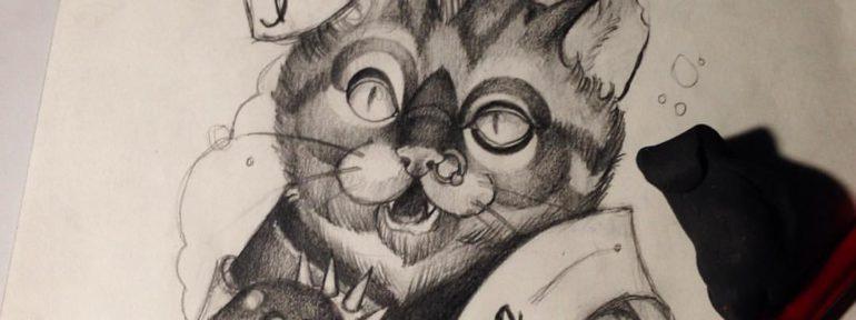 Свободный эскиз «Кот». Мастер Дима Поликарпов