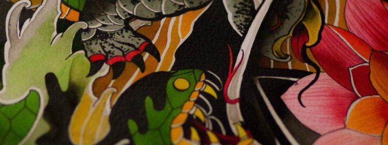 Фрагмент эскиза «Змея и черепаха». Мастер Лёша Стафеев