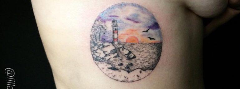 Художественная татуировка «маяк». Мастер Лилия