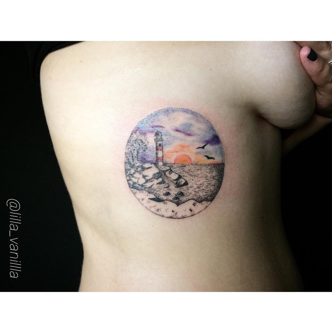 """Художественная татуировка """"маяк"""". Мастер Лилия"""