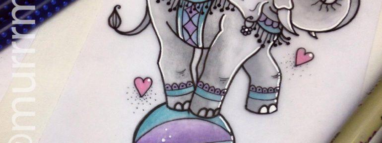 Свободный эскиз «Цирковой слон». Мастер Настя Стриж