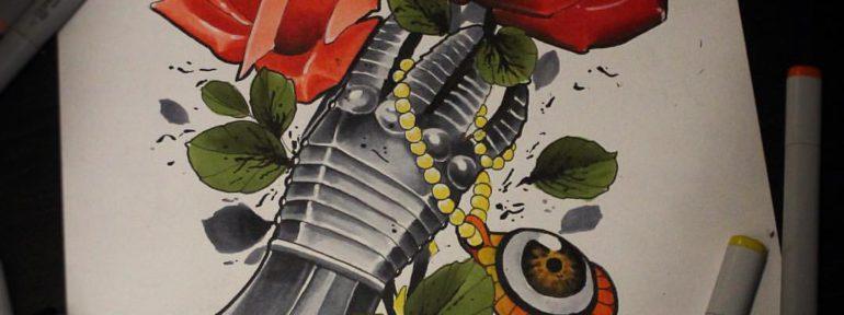 Свободный эскиз «Перчатка». Мастер Дима Поликарпов