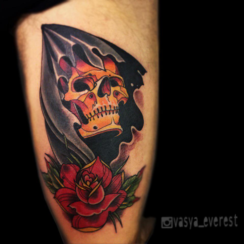 #traditionaltattoo #tattoo #tattooed #neotrad #skull