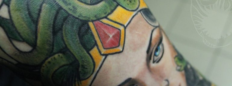 Художественная татуировка. Фрагмент рукава. Мастер: Дима Поликарпов