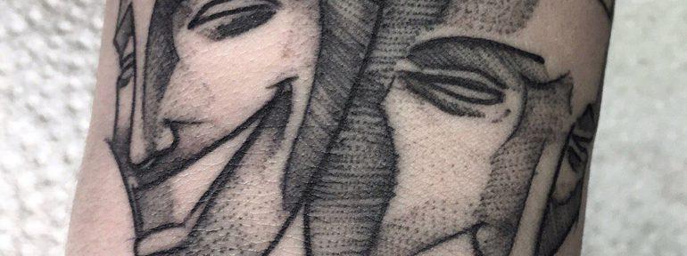 Художественная татуировка «Маски». Мастер- Ил Берёза.