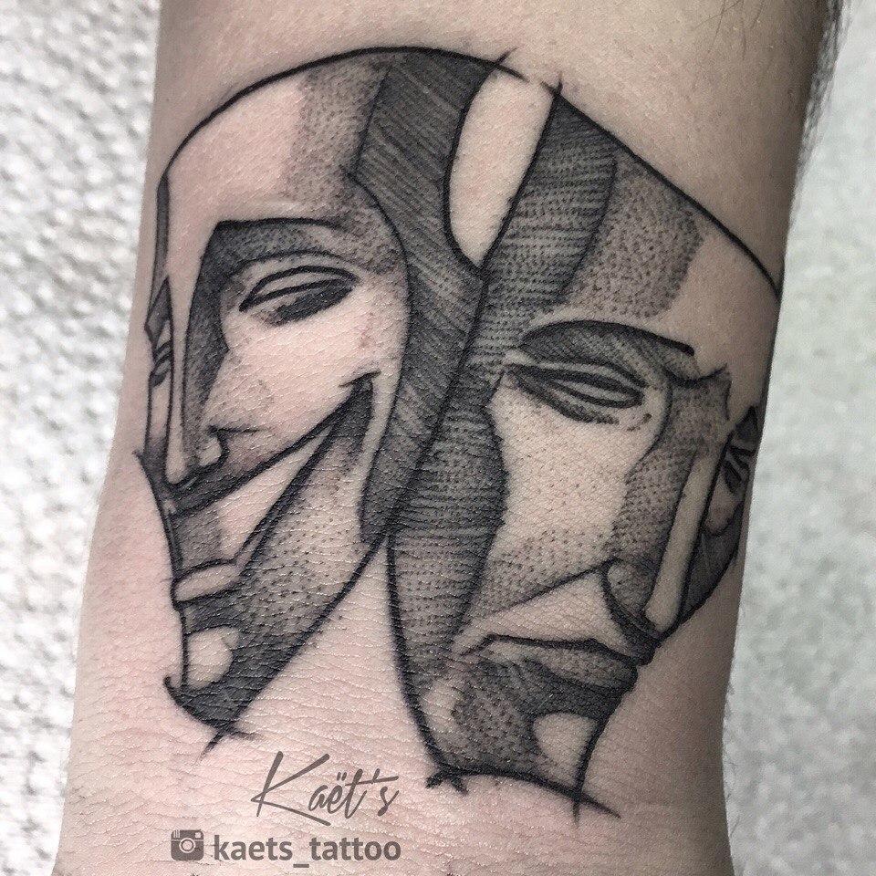 """Художественная татуировка """"Маски"""". Мастер- Ил Берёза."""