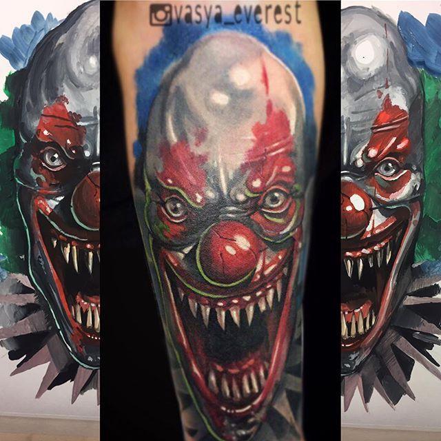 Художественная татуировка «Клоун». Мастер- Василий Эверест