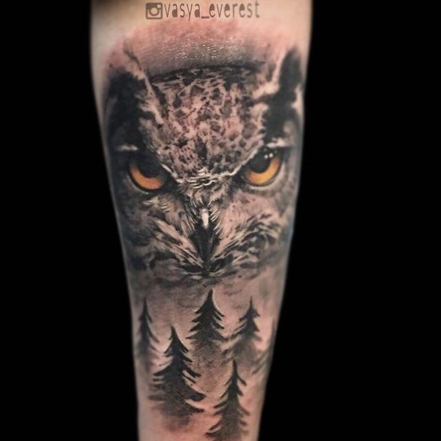 Художественная татуировка «Сова». Мастер Вася Эверест.