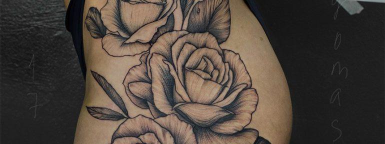 Художественная татуировка «Розы». Мастер Даня Костарев.