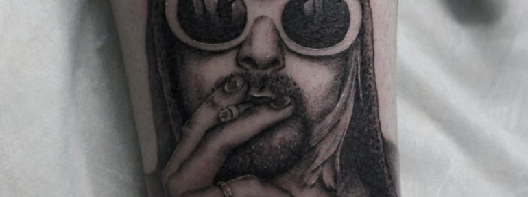 Татуировка «Курт Кобейн». Мастер Сергей Семаков.