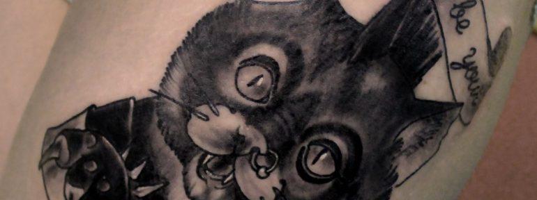 Художественная татуировка «Кот панк». Мастер Дима Поликарпов