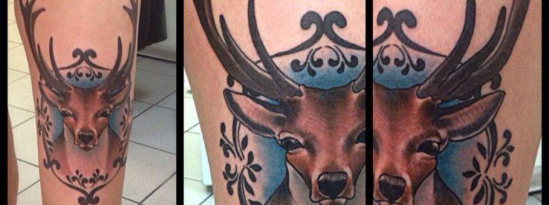 Художественная татуировка «Олень». Мастер Артем Михайлюта.
